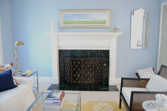 Fireplace after, with the new screen